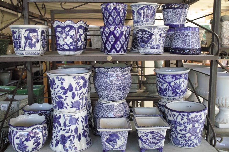 Pottery Small Pots Blue And White